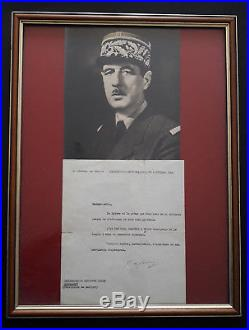 Charles DE GAULLE Lettre autographe signée 1946 COLOMBEY LES 2 EGLISES