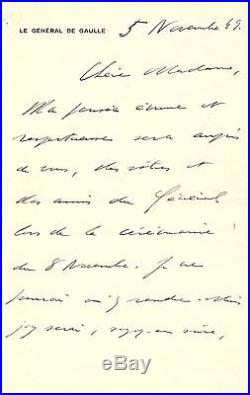 Charles De Gaulle Lettre Autographe (1949) / Commémoration Debarquement