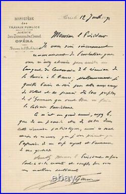 Charles GARNIER architecte lettre autographe signée Savoie France centenaire