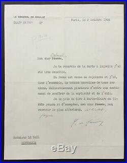Charles de GAULLE Rare lettre signée sur sa famille en captivité 1944