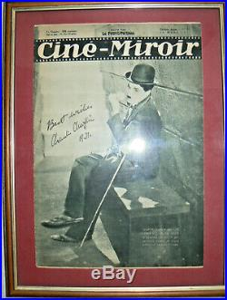 Charlie CHAPLIN UNIQUE Autographe Signé / Mars 1931 CINE MIROIR