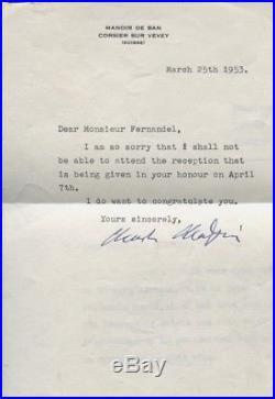 Charlie Chaplin Lettre Dactylographiée Signée Adressee A Fernandel