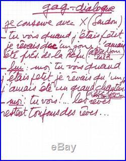 Claude FRANCOIS Manuscrit autographe 3 sketchs télévisés variété français