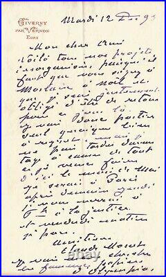 Claude MONET Lettre autographe signée à propos de l'OLYMPIA de MANET. Giverny