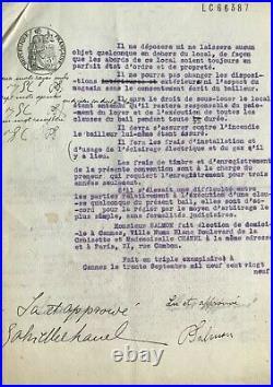 Coco CHANEL Document signé avec mention autographe. Chanel à Cannes 1929