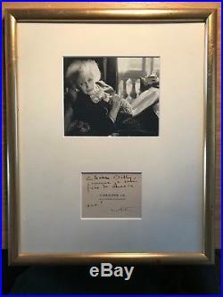 Colette / Lettre Autographe À Berthe Bovy / Encadrée Avec Photographie