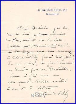 Colette / Lettre Autographe Signée / Rachilde (1910) /