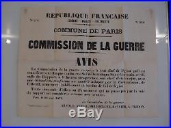 Commune de Paris, 1871, rare affiche en bel état, militaria, beau doc