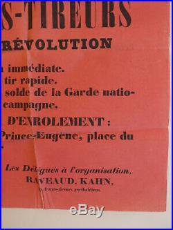 Commune de Paris, 1871, rare affiche rouge, formation dun bataillon, beau doc