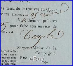 Convocation d'un garde au Temple pour l'exécution de Marie-Antoinette
