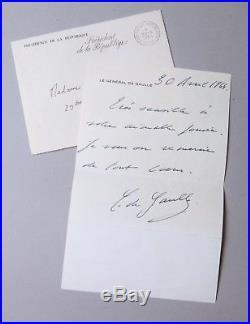 DE GAULLE Charles Autographe Lettre signée 1964 PRESIDENT DE LA REPUBLIQUE