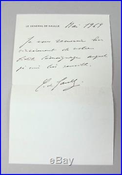 DE GAULLE Charles Autographe Lettre signée 1969 SANS ENVELOPPE