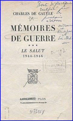 DE GAULLE LE SALUT 1960 ÉPREUVES CORRIGÉES avec CORRECTIONS AUTOGRAPHES
