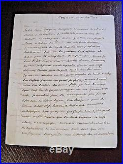 DE LA ROCHEFOUCAULD-LIANCOURT Autographe Signé 1825 MILITAIRE ACADEMIE SCIENCES