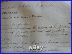 DIPLOME COMMANDEUR LEGION D'HONNEUR 1863 Colonel Artillerie de Marine