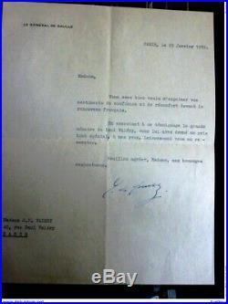 De Gaulle, lettre signée sur le Renouveau Français Paul Valéry 1959 AUTOGRAPHE