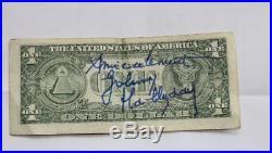 Dedicace JOHNNY HALLYDAY sur Dollar HALLYDAY AUTOGRAPHE + Facture d'époque