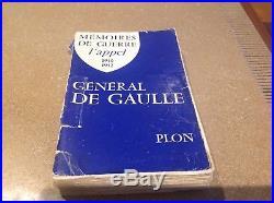 Dedicace autographe signée Général DE GAULLE sur les mémoires de guerre PLON
