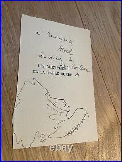 Dédicace et dessin exceptionnel de Jean Cocteau
