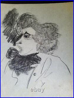 Dessin original Caricature De COLETTE Et Une Lettre Écrite De COLETTE A L