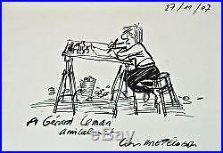 Dessin original (autoportrait) de Claire Bretécher avec lettre