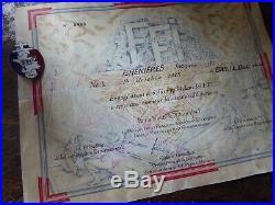 Diplome de FFI WW2 région C Colonel Grandval NANCY et médaille