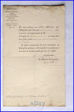 Document militaire Napoléon Empire 19e DUC DE FELTRE 1er rgt Chasseurs à Cheval