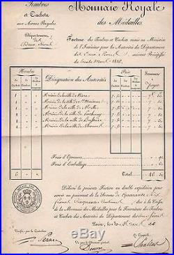 Dominique Vivant Denon / Document Signé (1816) / Monnaie Royale / Louvre