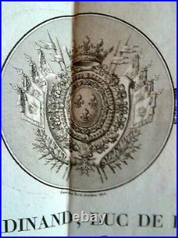 Duc De Berry Superbe Certificat D'emigration Signé 1816 Armée Royaliste