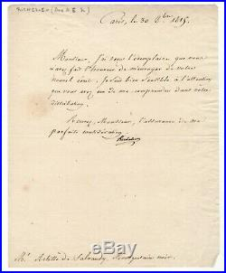 Duc De Richelieu / Lettre Signée (1815) / À Un Mousquetaire Noir / Restauration