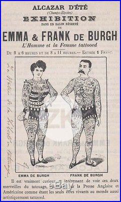 EMMA & FRANK de BURGH Tattoo TATOUAGE Samuel O'REILLY Alcazar LEVY Paris 1890s