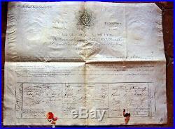 EMPIRE bretagne 1808 Lettres capitulaires du GRAND Maitre (franc maçon diplome)