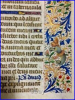 ENLUMINURE sur parchemin du XVe siècle. Illuminated manuscript XVth century