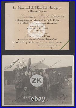 ESCADRILLE LAFAYETTE de GUINGAND AVIATION L'Equipage AUTOGRAPHES Photo+Doc 1928