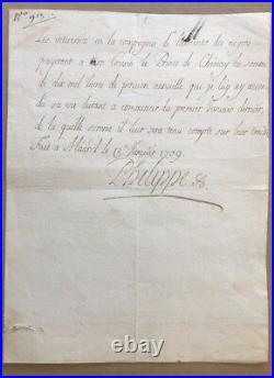 ESCLAVAGE ASSIENTO 1709 PRINCE DE CHIMAY Signé PHILIPPE V D'ESPAGNE MADRID