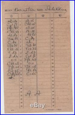 Échecs chess original handwritten autograph scoresheet ALEKHINE BERNSTEIN signed