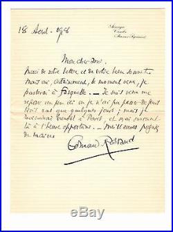 Edmond ROSTAND Lettre Autographe signée / 1918 à Cambo