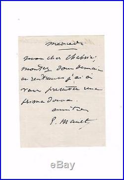 Edouard Manet / Billet Autographe Signé (1880) / Carmen / Prima Donna