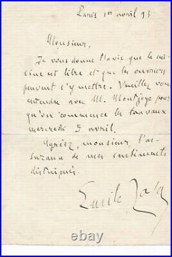 Émile ZOLA Lettre autographe signée chez lui libère la cuisine