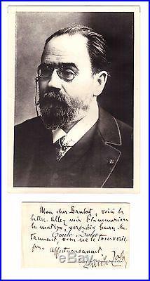 Émile Zola / Carte De Visite Autographe Signée (flammarion / Medan)