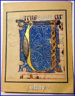 Enluminure, BIG Grande Lettre ornée U, 15ième Manuscrit manuscript parchemin, liv