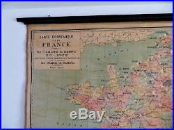 Enorme très ancienne carte scolaire France économique env 1900 no Vidal Lablache