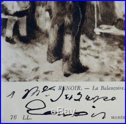 Envoi autographe de Renoir sur la reproduction d'un de ses tableaux