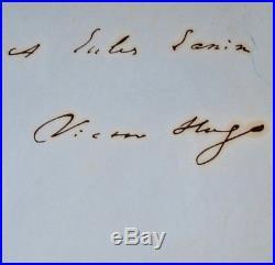 Envoi et belle signature de Victor Hugo à Jules Janin