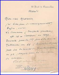 Ernest Chausson lettre autographe signée La Caravane Théophile Gautier