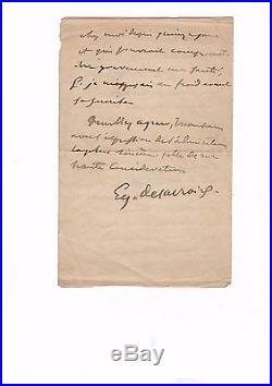 Eugène Delacroix / Lettre Autographe Signée (1851) / Académie Des Beaux Arts