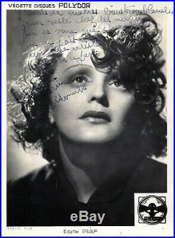 Exceptionnelle Dedicace Autograph Edith Piaf A Son Amant & Parolier Raymond Asso