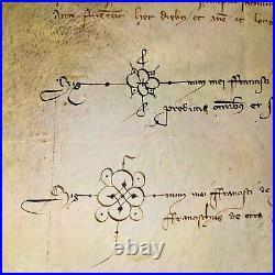 Exigence Riembau De Corbera Pour Mantenir Des Fourches. Parchemin. Espagne. 1349