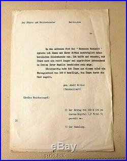 FACSIMILI/FAKSIMILIERT ADOLF HITLER 1942 avec TAMPON A FROID REICH