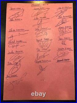 FOOTBALL Autographe des joueurs de lÉquipe de France Signed 1996 / Zidane